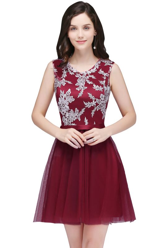 CARMEN | A-line Short Pink Tulle Homecoming Dresses with Lace Appliques