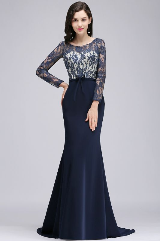 ALICE | Mermaid Jewel Navy Blue Lace Long Evening Dresses With Sleeve
