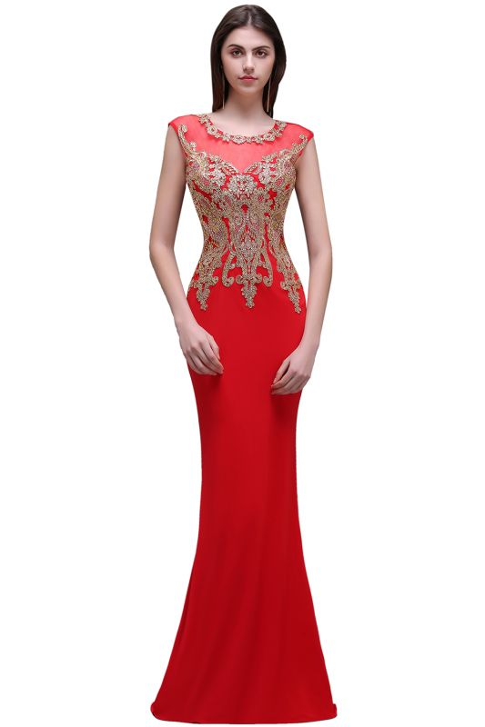 BELEN | Sheath Round Neck Floor-Length Red Prom Dresses With Applique