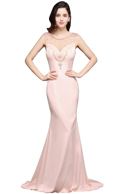 ALIZA | Mermaid Sweep Train Pearl Pink Prom Dresses with Crystal