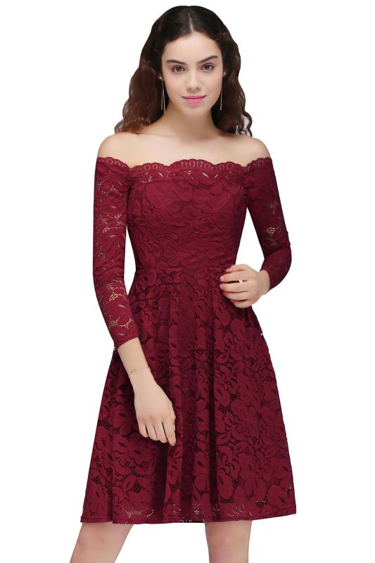 BRINLEY | A-Line Off-the-Shoulder Short Lace Burgundy Homecoming Dresses