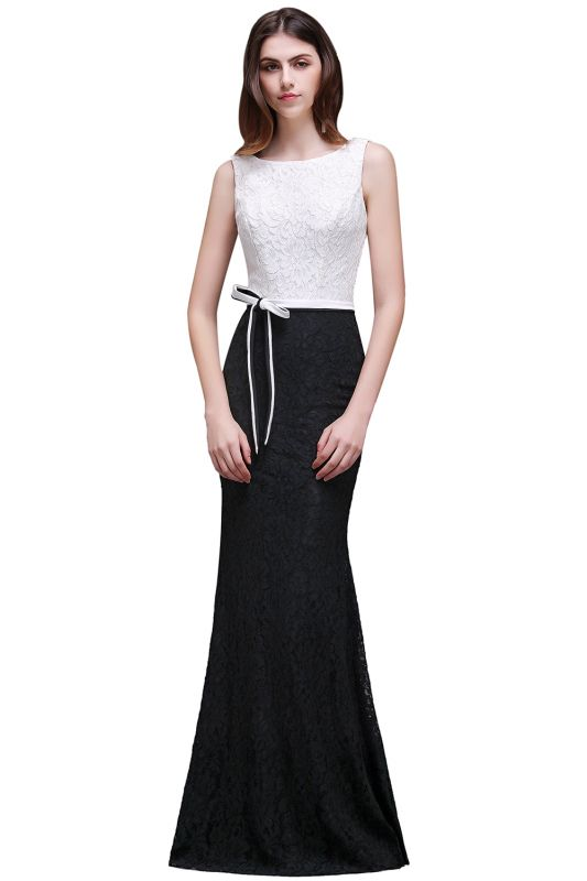 BAILEY | Sheath Scoop Floor-Length Lace White And Black Prom Dresses