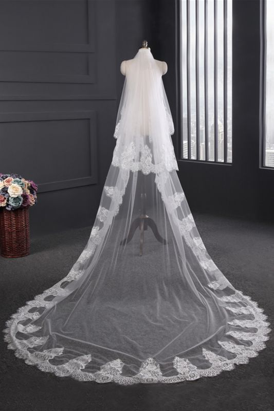 Cathedral Tulle Scalloped Edge 3*1.5M Wedding Gloves with Appliques