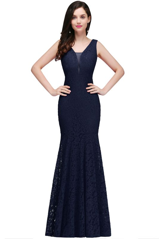 CLARISSA  Mermaid Floor-length Lace Red Prom Dress