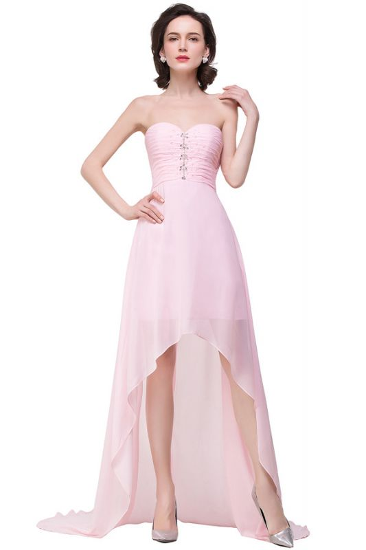 HALEY | A-line Sweetheart Hi-Lo Ruffle Pink Chiffon Bridesmaid Dresses With Sequins