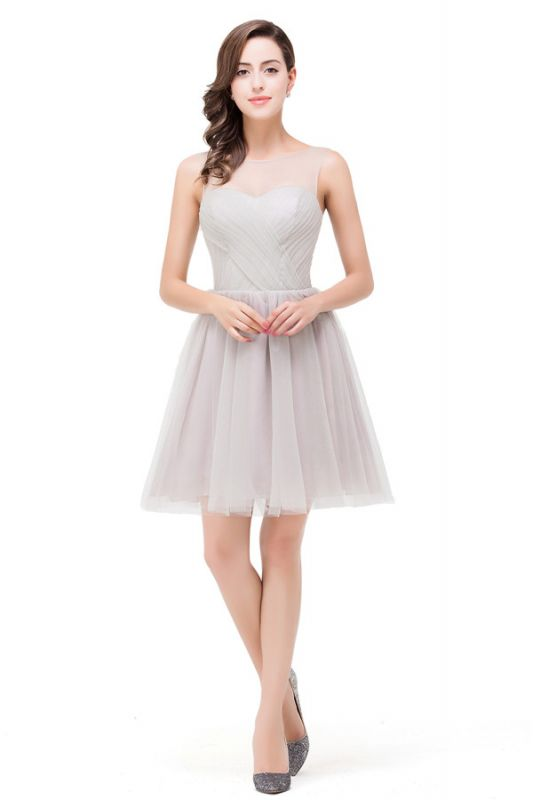 Harlow Elegant A Line Crew Mini Silver Bridesmaid Dresses With Ruffle