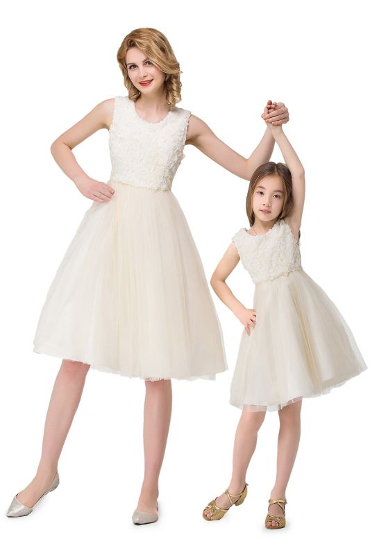 HEIDI| A-line Knee Length Tulle Jewel Sleeveless Lace Mother Daughter Dresses