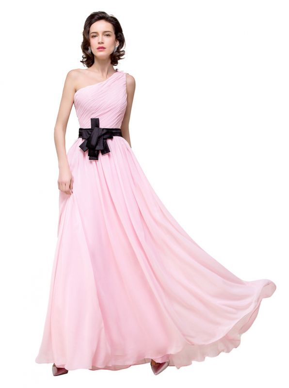 HAILEY | A-line One-shoulder Floor-length Ruffle Pink Chiffon Bridesmaid Dresses With Sashes
