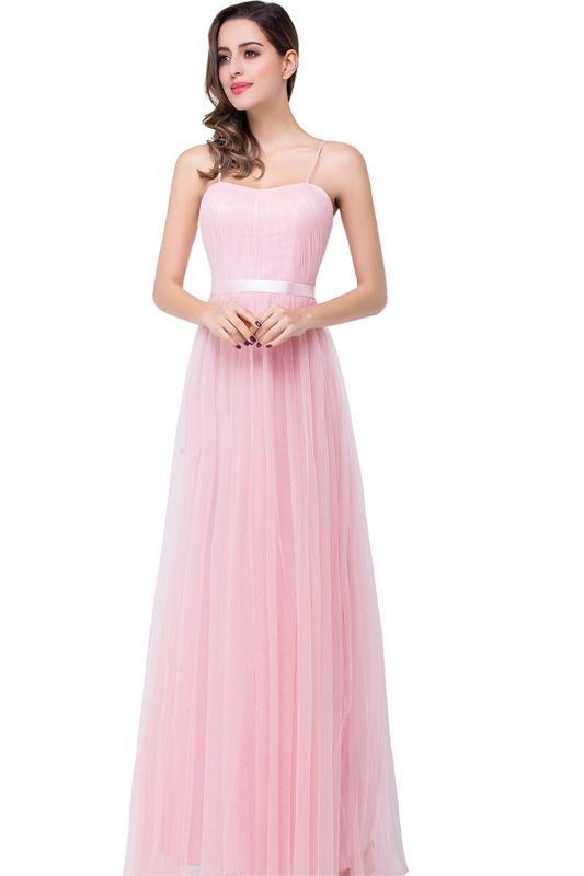 Simple Spaghetti-Straps Ruffles A-Line Pink Open-Back Evening Dress