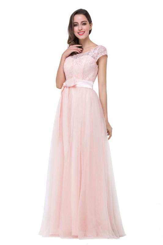 HAILEE | A-line Crew Floor-length Sashes Chiffon Bridesmaid Dresses with Applique