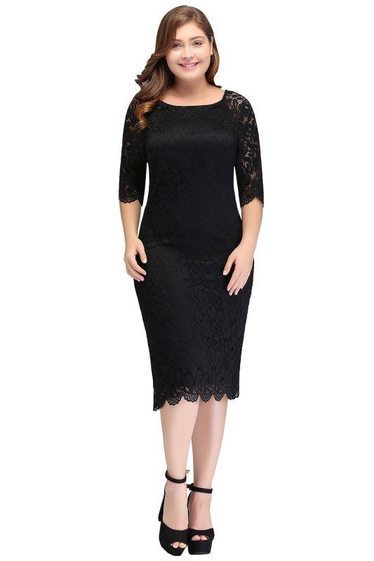 JANESSA | Mermaid Bateau Tea Length Plus size Lace Black Evening Dresses with sleeves