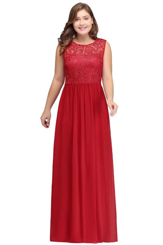 ISLA | A-Line Crew Floor Length Sleeveless Plus size Lace Chiffon Evening Dresses