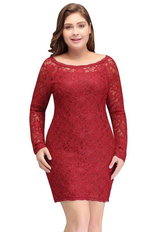 JANELLE | Sheath Scoop Short Long Sleeves Plus size Lace Burgundy Cocktail Dresses