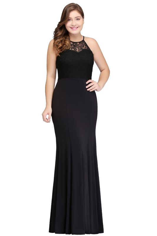 JAELYNN | Mermaid Halter Floor Length Plus size Black Evening Dresses with Lace