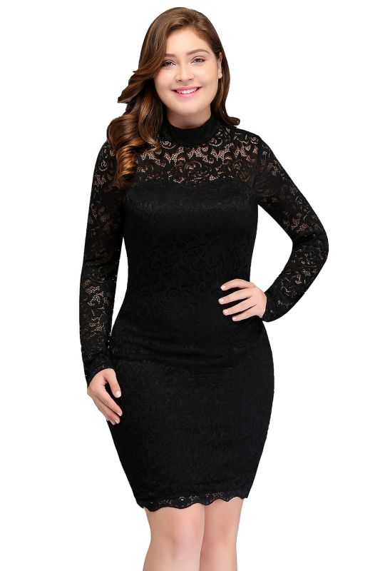 JANE   Mermaid Crew Short Plus size Long Sleeves Lace Black Cocktail Dresses