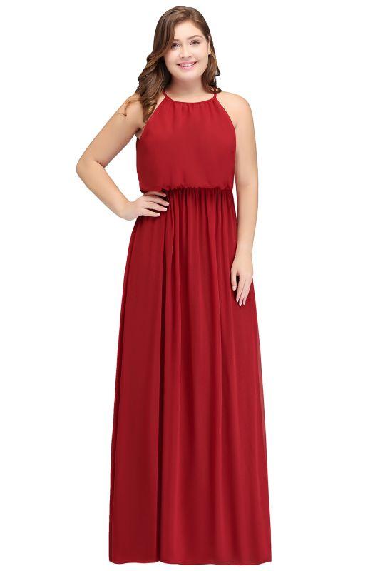 JAIDA | A-Line Straps Floor Length Sleeveless Plus size Evening Dresses with Ruffles