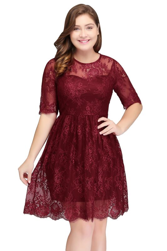 JASMINE | A-Line Crew Plus size Half Sleeves Short Lace Burgundy Cocktail Dresses