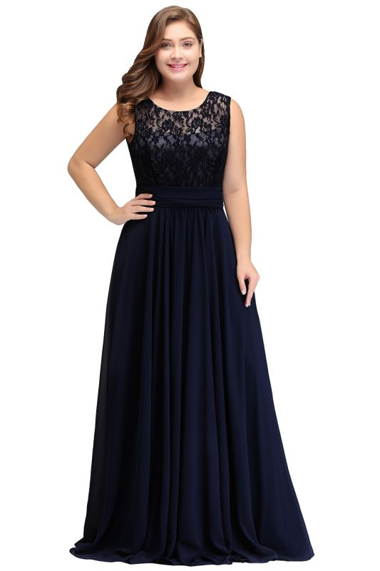 IVY | A-Line Crew Long Plus size Sleeveless Dark Navy Formal Dresses with Lace