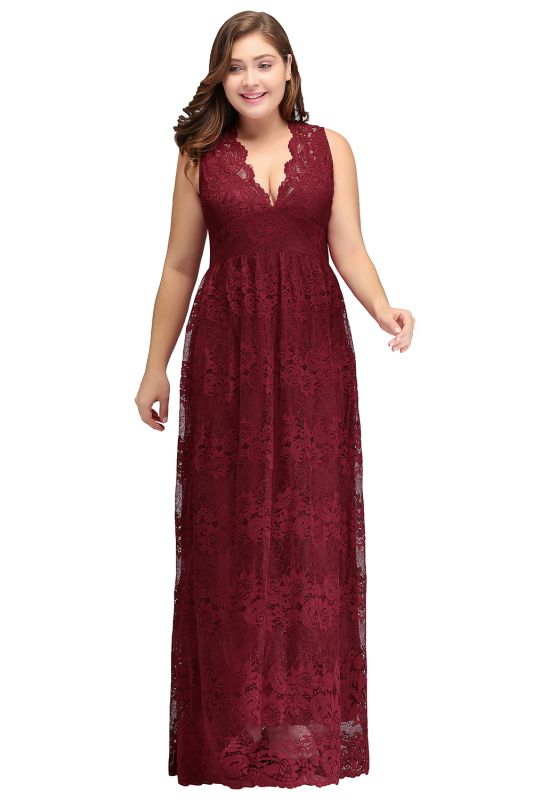 JADE | A-Line V-neck Floor Length Sleeveless Plus size Lace Burgundy Evening Dresses