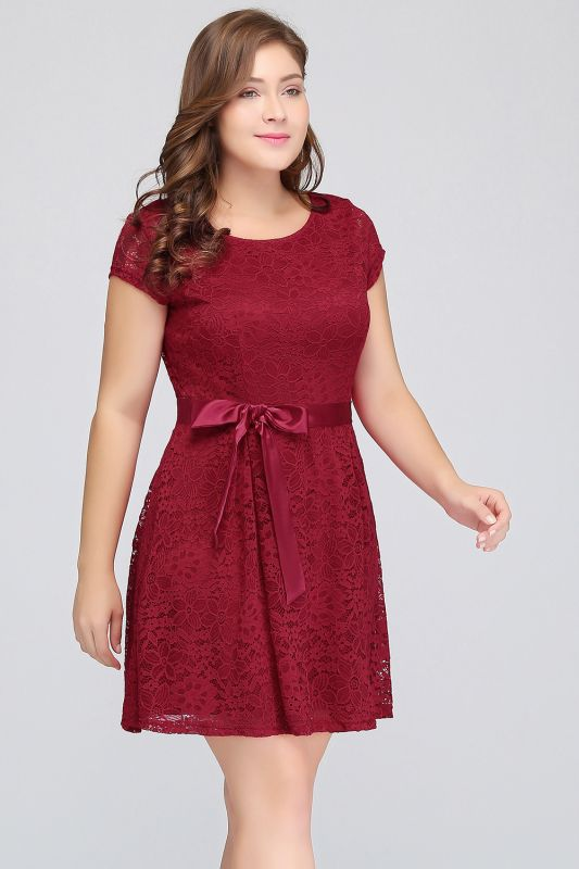 JALIYAH | A-Line Scoop Short Plus size Short Sleeves Lace Burgundy Cocktail Dresses with Bow
