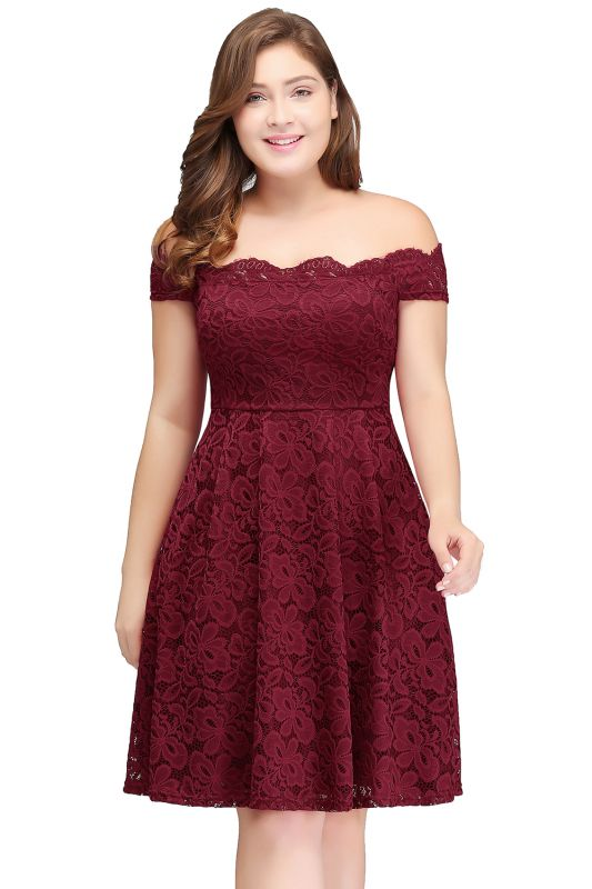 JANIYA | A-Line Off-Shoulder Knee Length Plus size Lace Burgundy Cocktail Dresses