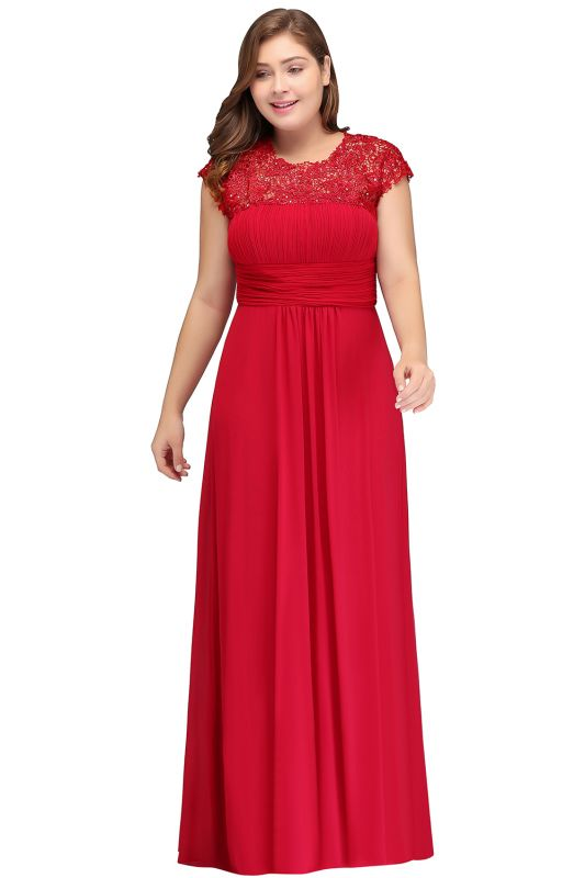IMANI   A-Line Crew Floor length Plus size Cap sleeves Lace Chiffon Evening Dresses with Appliques