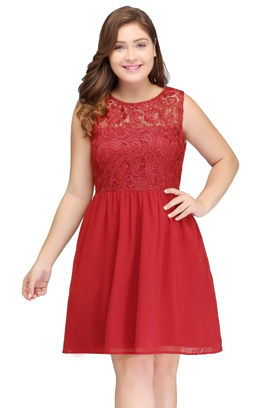HENLEY   A-Line Crew Short Sleeveless Lace Chiffon Red Cocktail Dresses
