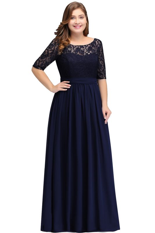 48699073fe5b0 IVANNA | A-Line Scoop Plus size Half Sleeves Long Navy Blue Evening Dresses  with Lace