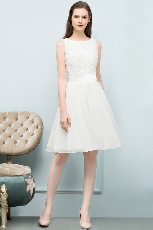 VALERIE | A-line Knee Length Sleevelss Crew Lace Chiffon White Prom Dresses