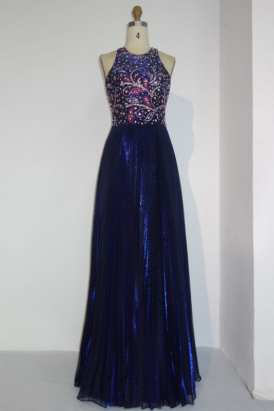 Gorgeous Beads Custom Made A-line Sequined Sleeveless Prom Dresses Cheap   Stunning Prom Dresses Cheap