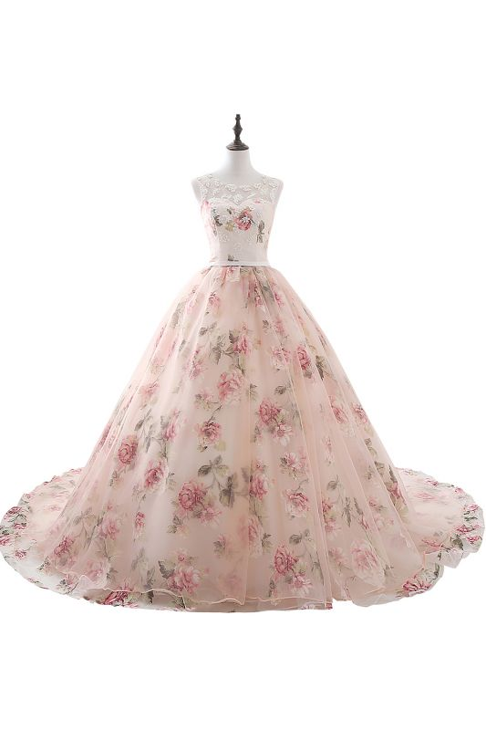 ALIA   Ball Gown Sweetheart Vintage Organza Evening Dresses With Print
