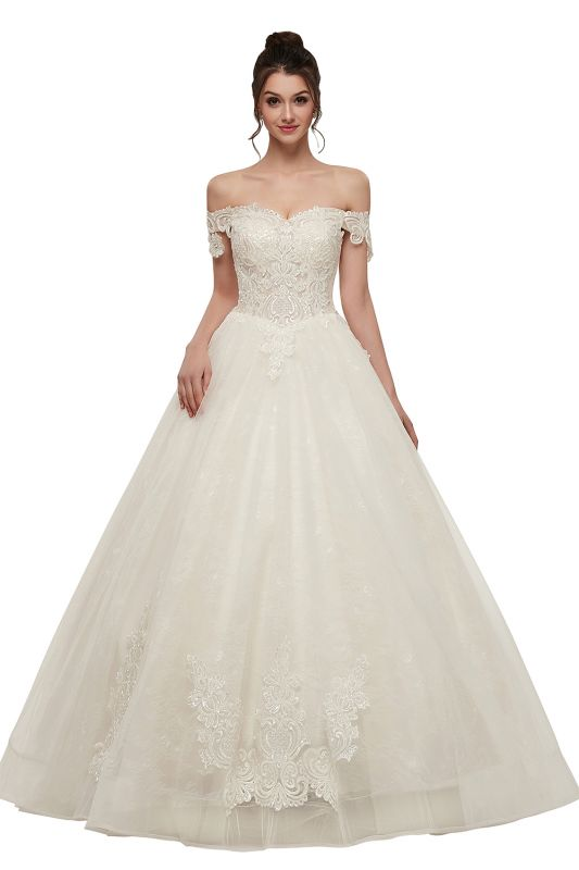 Zola A Line Off Shoulder Sweetheart Floor Length Lace Appliques Wedding Dresses With Lace Up