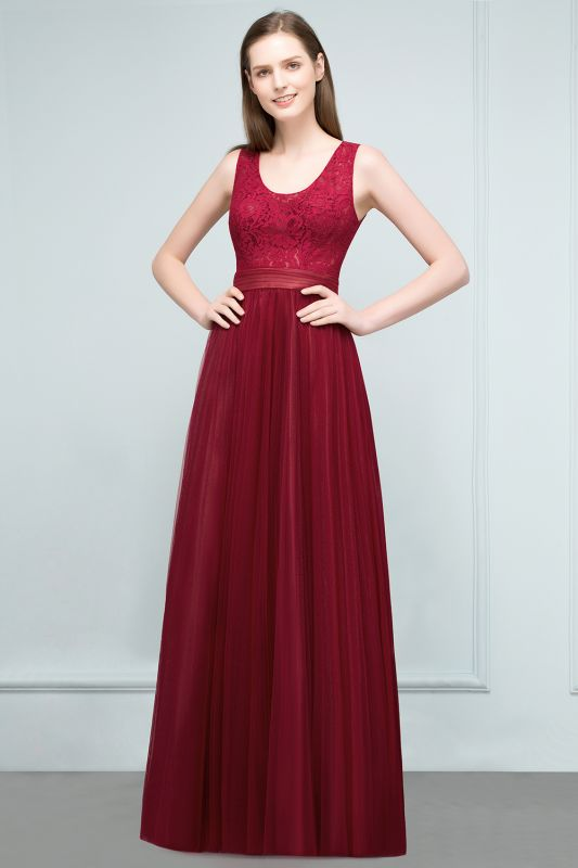 JULIANNA   A-line Scoop Long Sleevless Lace Top Burgundy Tulle Prom Dresses