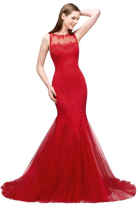 VANESSA | Mermaid Floor Length Illusion Neckline Sleeveless Tulle Lace Prom Dresses