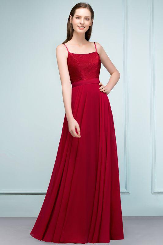 JULIANNE   A-line Spaghetti Floor Length Lace Appliques Prom Dresses