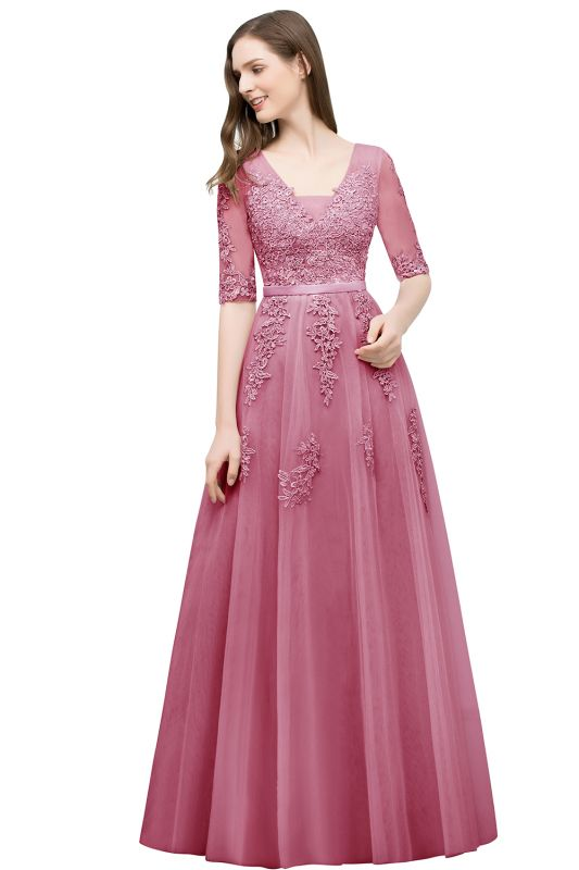 JORDYNN | A-line Half-sleeve V-neck Floor Length Appliqued Tulle Prom Dresses with Sash