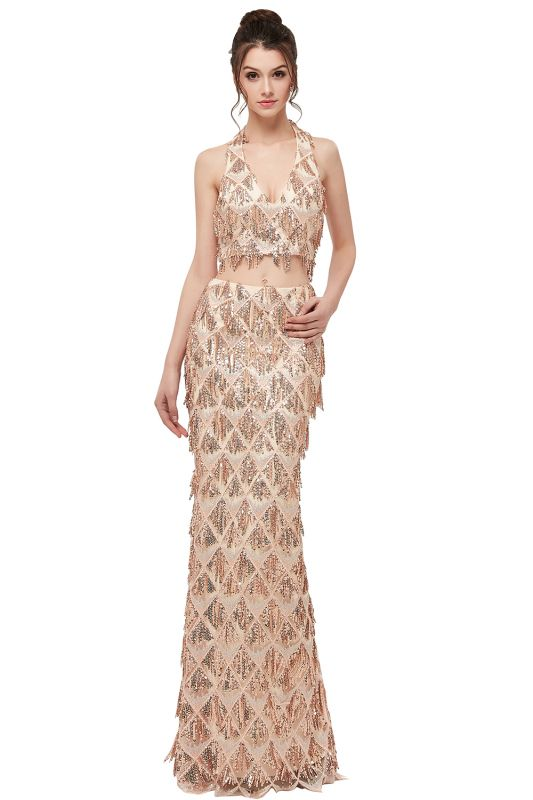 ZENOBIA | Mermaid Two-piece Halter Long Sequined Patterns Champagne Prom Dresses