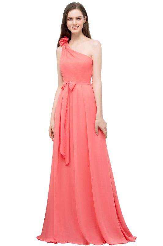 VALERIA | A-line One Shoulder Floor Length Chiffon Prom Dresses with Bow Sash