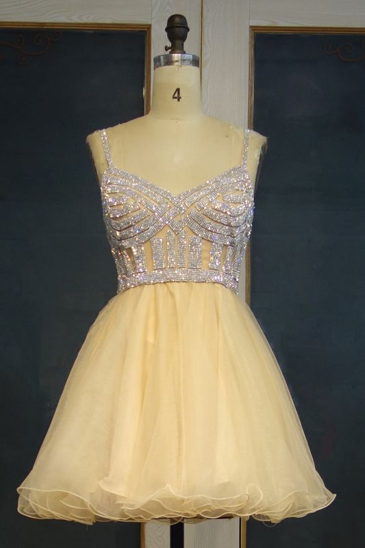 Custom Made Sexy Spaghetti Straps Silver Beads Sequins Cute Short Homecoming Dresses