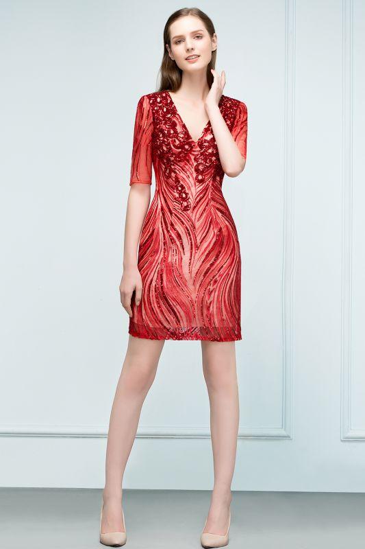 STEPHANIE | Sheath V-neck Half Sleeves Short Sequins Homecoming Dresses