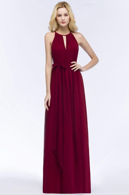 ROSALIND | A-line Halter Floor Length Burgundy Bridesmaid Dresses with Bow Sash
