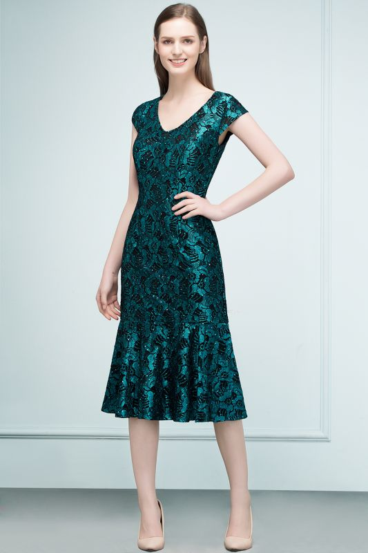 REGINA | Mermaid V-neck Tea Length Lace Appliqued Prom Dresses