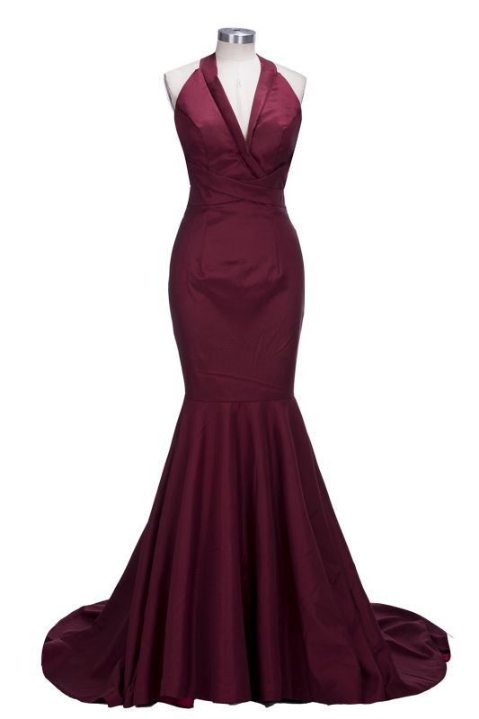 Mermaid Sleeveless Burgundy Prom Dresses Cheap | Sexy V-neck Open Back Evening Gowns