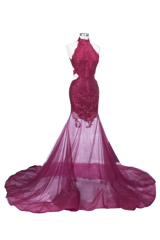 SALLIE | Mermaid High-Neck Burgundy Sheer-Tulle Lace Appliques Prom Dresses