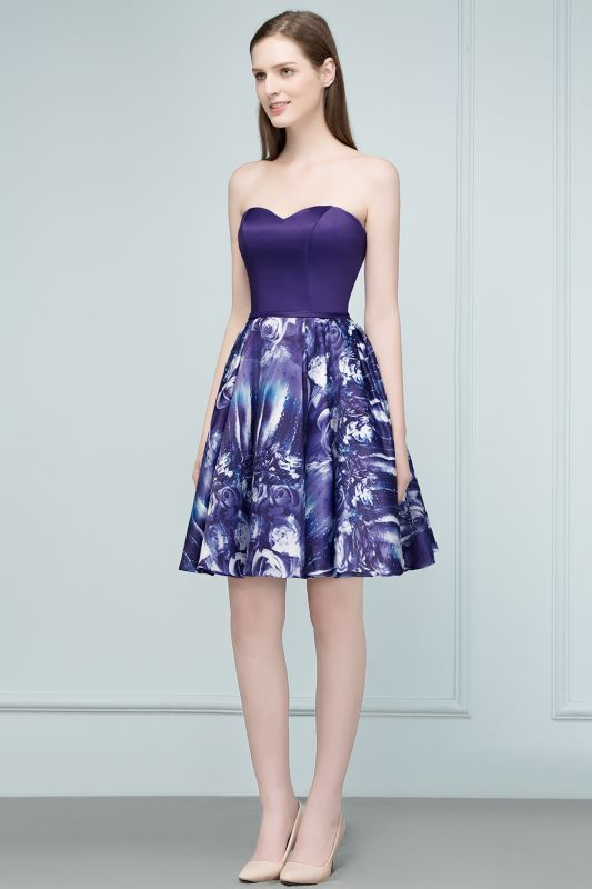 RICARDA | A-line Strapless Sweetheart Short Print Homecoming Dresses