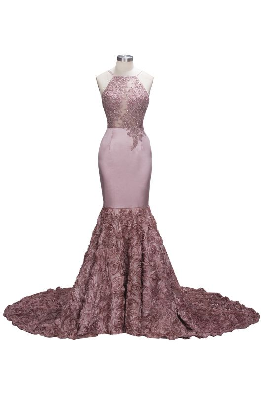 SALOME | Mermaid Long Spaghetti Rose Flowers Pink Beaded Prom Dresses