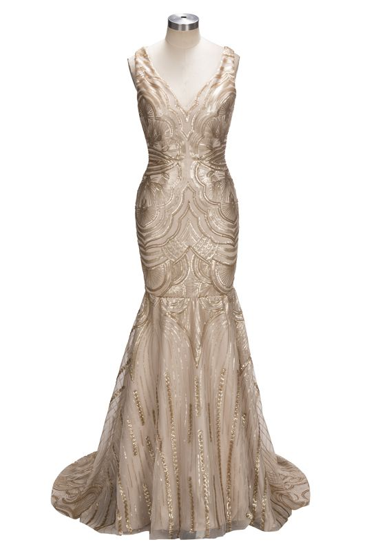 Champagne Gold V-neck Sleeveless Mermaid Sexy Deep Sequins Evening Gown