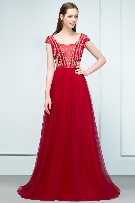 SUSY | A-line Floor Length Cap Sleeves Crystal Beading Tulle Prom Dresses with Sash