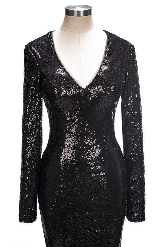 V-Neck Sequins Mermaid Long Sleeve Shiny Black Long Prom Dresses Cheap   Black Prom Dresses Cheap