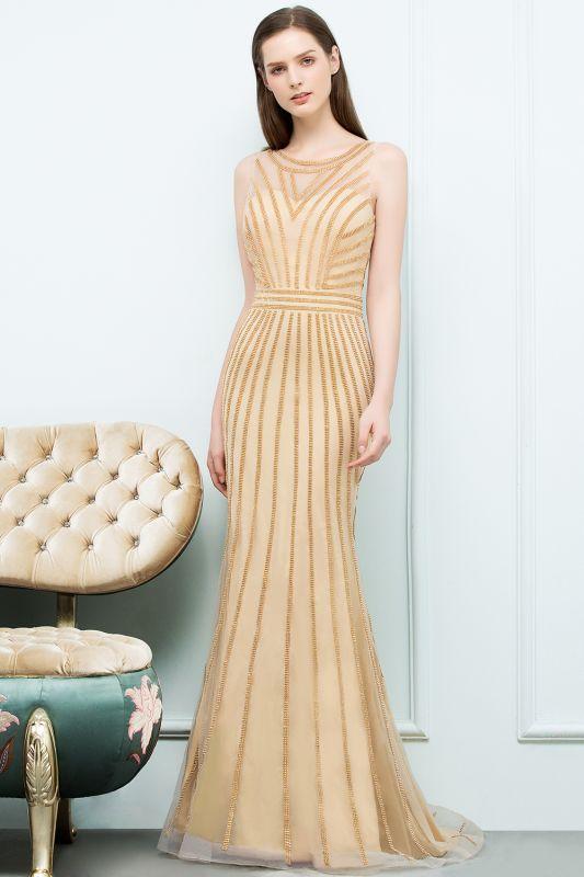 SONIA | Mermaid Floor Length Beading Patterns Champagne Prom Dresses